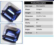Сапфир синий      8, 5 карата