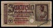 Денежная купюра 20 Reichsmark.