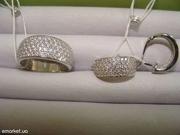 Набор новый из родированного серебра 925 пробы