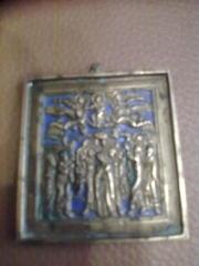 Редкая старинная литая православная икона 19 века Вознесение Господне.