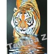 Картину - масляная живопись - Тигр,  пьющий воду ночью
