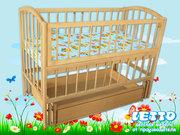 Кроватка детская LETTO «Малютка с маятником плюс ящик»