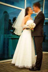 Свадебное платье цвета айвори, бюстье, лучший из корсетов!,  гипюр+атлас!