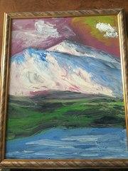 Картина маслом Горный пейзаж у моря в рамке