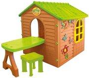 Детский игровой домик Лесной коричневый +столик+стульчик