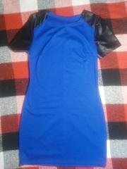Платье с кожаными рукавами!!!
